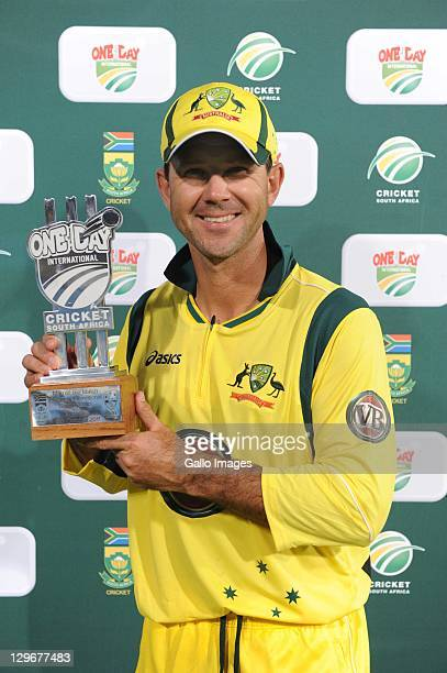 Ricky Ponting of Australia poses with the Man of the Match award after the 1st One Day International between South Africa and Australia at SuperSport...