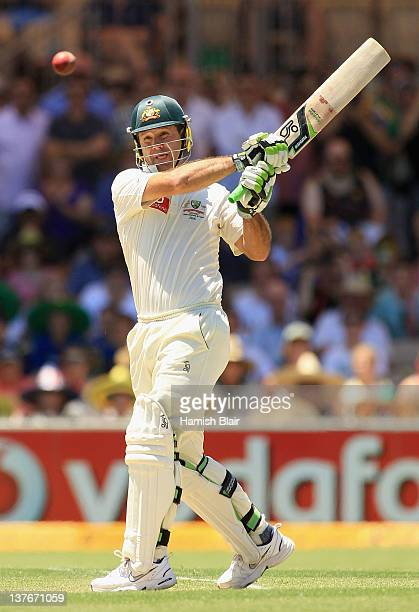 Ricky Ponting of Australia pulls for four to bring up his double century during day two of the Fourth Test Match between Australia and India at...