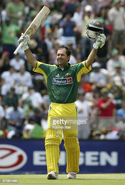 Ricky Ponting of Australia reaches his century during the fifth One Day International between South Africa and Australia played at Wanderers Stadium...