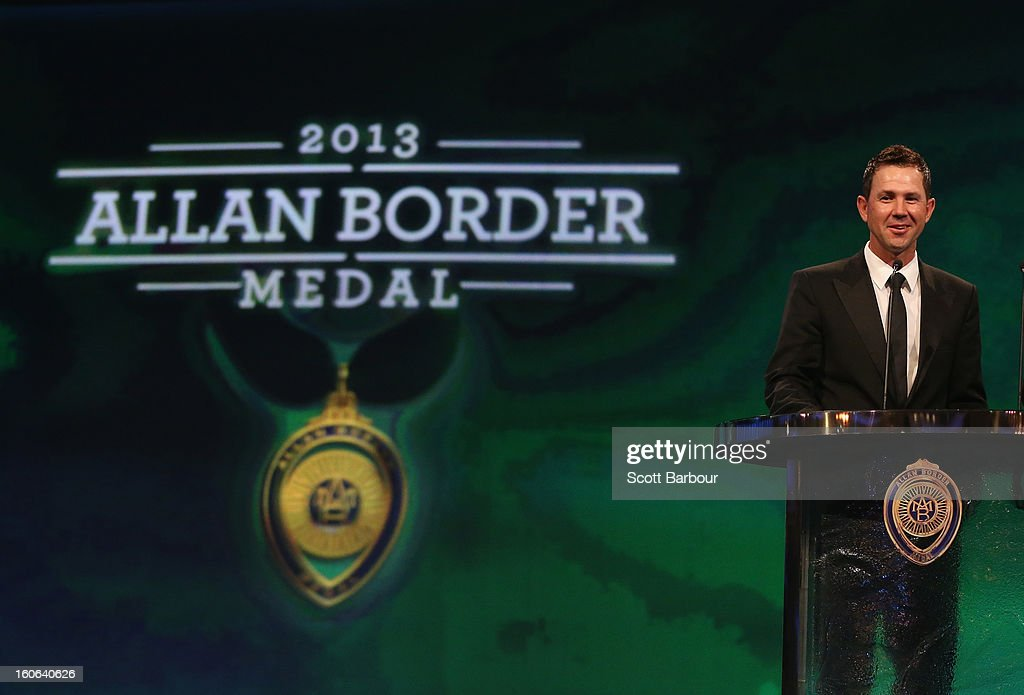 Ricky Ponting of Australia speaks during the 2013 Allan Border Medal awards ceremony at Crown Palladium on February 4, 2013 in Melbourne, Australia.