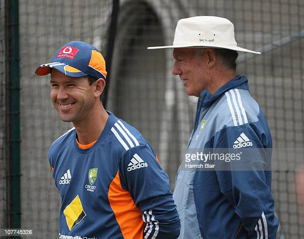Ricky Ponting of Australia speaks with selector Greg Chappell during an Australian training session at the Melbourne Cricket Ground on December 23...
