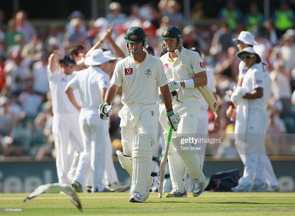 Ricky Ponting of Australia walks off after his dismissal during day two of the Third Ashes Test match between Australia and England at WACA on December 17, 2010 in Perth, Australia.