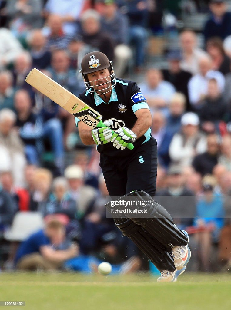 <a gi-track='captionPersonalityLinkClicked' href=/galleries/search?phrase=Ricky+Ponting&family=editorial&specificpeople=176564 ng-click='$event.stopPropagation()'>Ricky Ponting</a> of Surrey bats during the Yorkshire Bank 40 match between Surrey and Lancashire at Guildford Cricket Club on June 9, 2013 in Guildford, England.