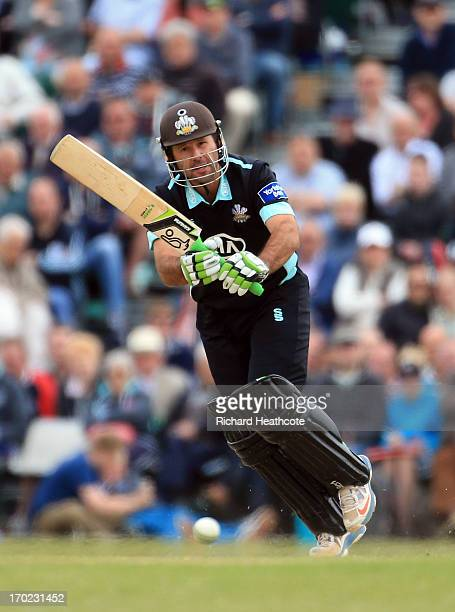 Ricky Ponting of Surrey bats during the Yorkshire Bank 40 match between Surrey and Lancashire at Guildford Cricket Club on June 9 2013 in Guildford...