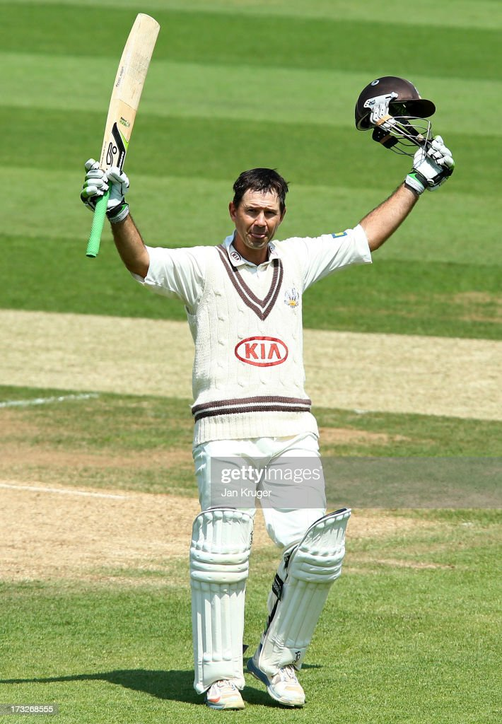 <a gi-track='captionPersonalityLinkClicked' href=/galleries/search?phrase=Ricky+Ponting&family=editorial&specificpeople=176564 ng-click='$event.stopPropagation()'>Ricky Ponting</a> of Surrey celebrates and acknowledges the crowd as he reaches his century during the LV County Championship match between Surrey and Nottinghamshire at The Kia Oval on July 11, 2013 in London, England.