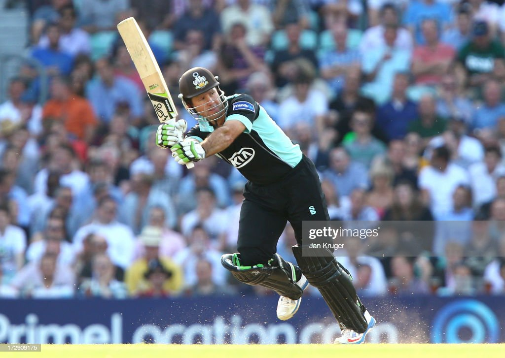 Ricky Ponting of Surrey hits out during the Friends Life T20 match between Surrey Lions and Middlesex Panthers at The Kia Oval on July 5, 2013 in London, England.