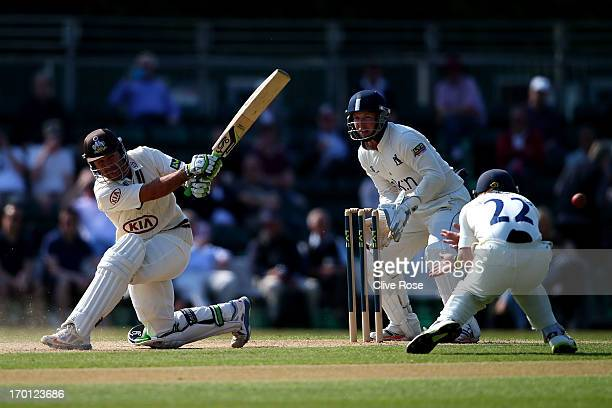 Ricky Ponting of Surrey in action during day three of the LV County Championship Division One match between Surrey and Warwickshire at Guildford...