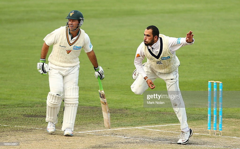 Ricky Ponting of Tasmania backs up as Fawad Ahmed of Victoria bowls during day four of the Sheffield Shield match between the Tasmania Tigers and the Victoria Bushrangers at Blundstone Arena on March 17, 2013 in Hobart, Australia.