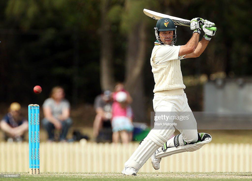 <a gi-track='captionPersonalityLinkClicked' href=/galleries/search?phrase=Ricky+Ponting&family=editorial&specificpeople=176564 ng-click='$event.stopPropagation()'>Ricky Ponting</a> of Tasmania bats during day four of the Sheffield Shield match between the New South Wales Blues and the Tasmanian Tigers at Bankstown Oval on September 29, 2012 in Sydney, Australia.