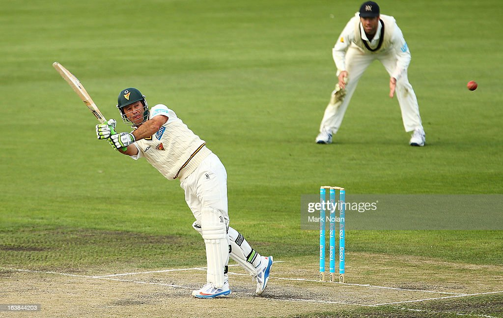 Ricky Ponting of Tasmania bats during day four of the Sheffield Shield match between the Tasmania Tigers and the Victoria Bushrangers at Blundstone Arena on March 17, 2013 in Hobart, Australia.