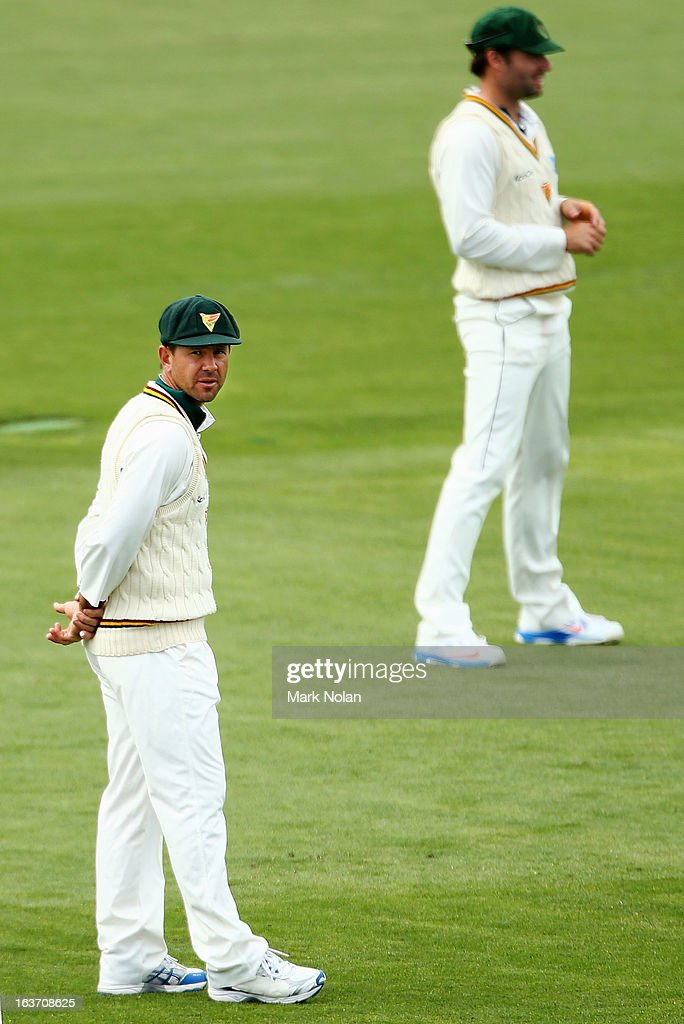 <a gi-track='captionPersonalityLinkClicked' href=/galleries/search?phrase=Ricky+Ponting&family=editorial&specificpeople=176564 ng-click='$event.stopPropagation()'>Ricky Ponting</a> of Tasmania looks on during day two of the Sheffield Shield match between the Tasmania Tigers and the Victoria Bushrangers at Blundstone Arena on March 15, 2013 in Hobart, Australia.
