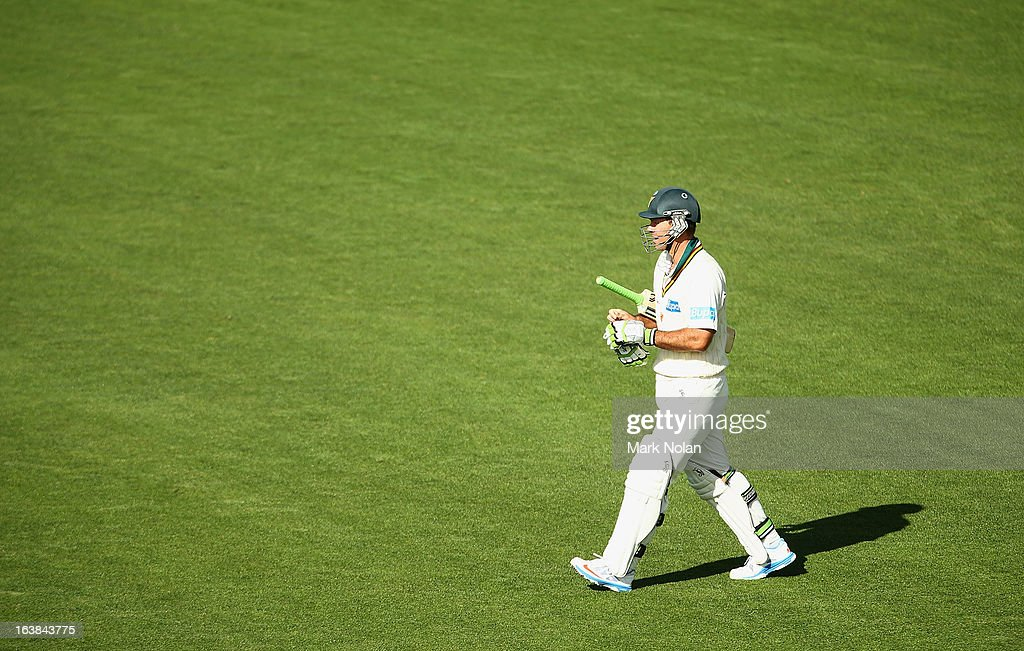 Ricky Ponting of Tasmania walks onto the field to bat during day four of the Sheffield Shield match between the Tasmania Tigers and the Victoria Bushrangers at Blundstone Arena on March 17, 2013 in Hobart, Australia.