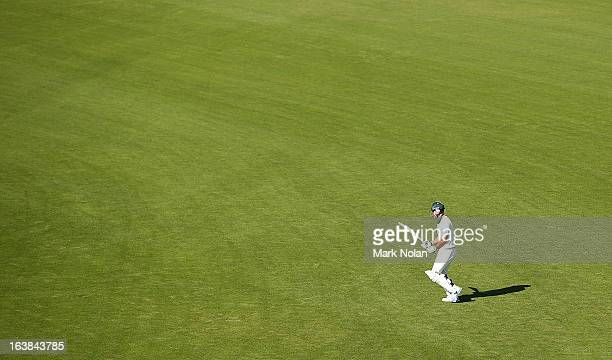 Ricky Ponting of Tasmania walks onto the field to bat during day four of the Sheffield Shield match between the Tasmania Tigers and the Victoria...