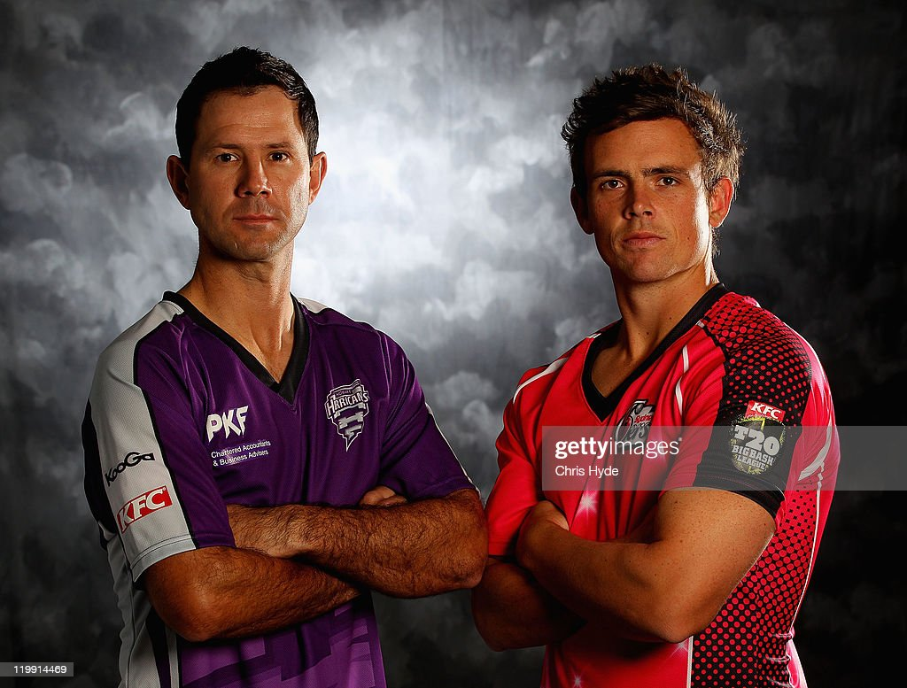 Ricky Ponting (L) of the Hobart Hurricanes and Steve O'Keefe of the Sydney Sixers pose for a portrait ahead of the launch of the KFC T20 Big Bash League on July 24, 2011 in Coolum Beach, Australia.