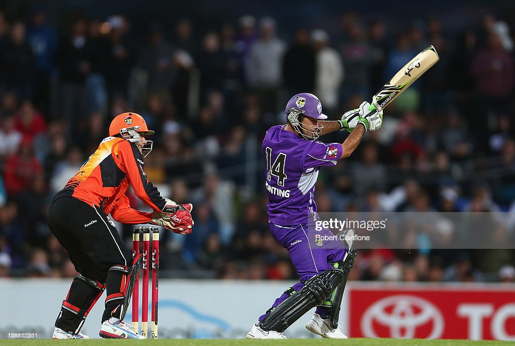 <a gi-track='captionPersonalityLinkClicked' href=/galleries/search?phrase=Ricky+Ponting&family=editorial&specificpeople=176564 ng-click='$event.stopPropagation()'>Ricky Ponting</a> of the Hurricanes bats during the Big Bash League match between the Hobart Hurricanes and the Perth Scorchers at Blundstone Arena on January 1, 2013 in Hobart, Australia.