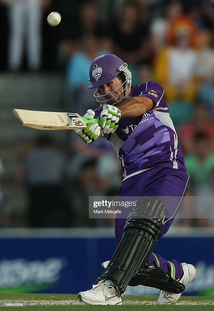Ricky Ponting of the Hurricanes bats during the mach between the Hobart Hurricanes and the Brisbane Heat at Blundstone Arena on January 12, 2013 in Hobart, Australia.