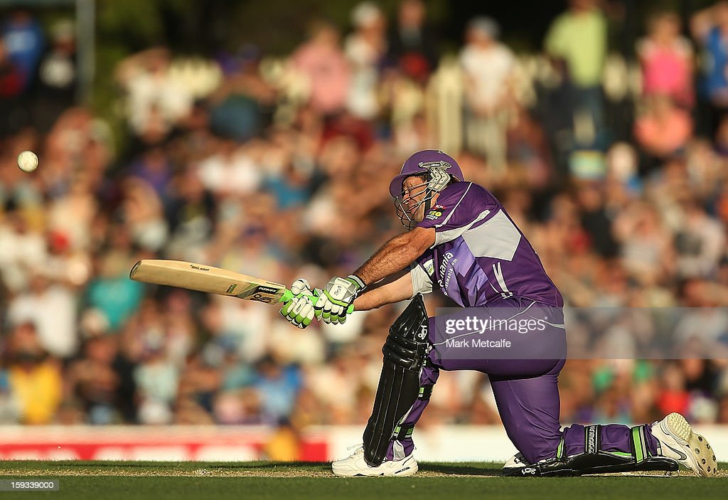 Ricky Ponting of the Hurricanes hits a six during the Big Bash League match between the Hobart Hurricanes and the Brisbane Heat at Blundstone Arena on January 12, 2013 in Hobart, Australia.