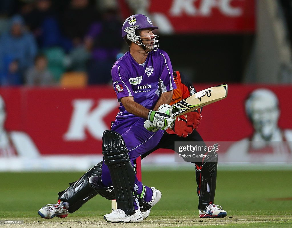 <a gi-track='captionPersonalityLinkClicked' href=/galleries/search?phrase=Ricky+Ponting&family=editorial&specificpeople=176564 ng-click='$event.stopPropagation()'>Ricky Ponting</a> of the Hurricanes hits out during the Big Bash League match between the Hobart Hurricanes and the Perth Scorchers at Blundstone Arena on January 1, 2013 in Hobart, Australia.
