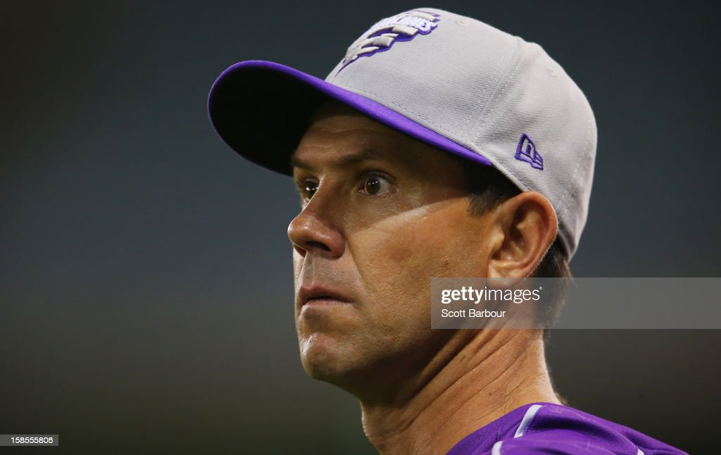 <a gi-track='captionPersonalityLinkClicked' href=/galleries/search?phrase=Ricky+Ponting&family=editorial&specificpeople=176564 ng-click='$event.stopPropagation()'>Ricky Ponting</a> of the Hurricanes looks on during the Big Bash League match between the Melbourne Renegades and the Hobart Hurricanes at Etihad Stadium on December 19, 2012 in Melbourne, Australia.