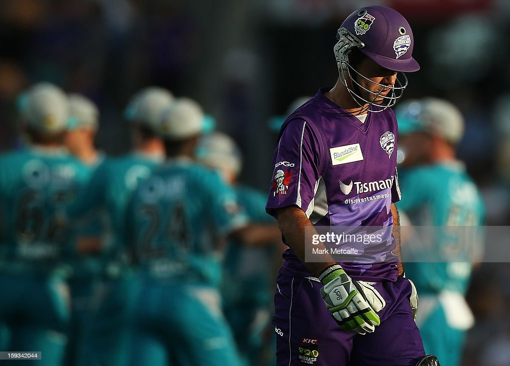 Ricky Ponting of the Hurricanes walks from the field after being dismissed during the Big Bash League match between the Hobart Hurricanes and the Brisbane Heat at Blundstone Arena on January 12, 2013 in Hobart, Australia.
