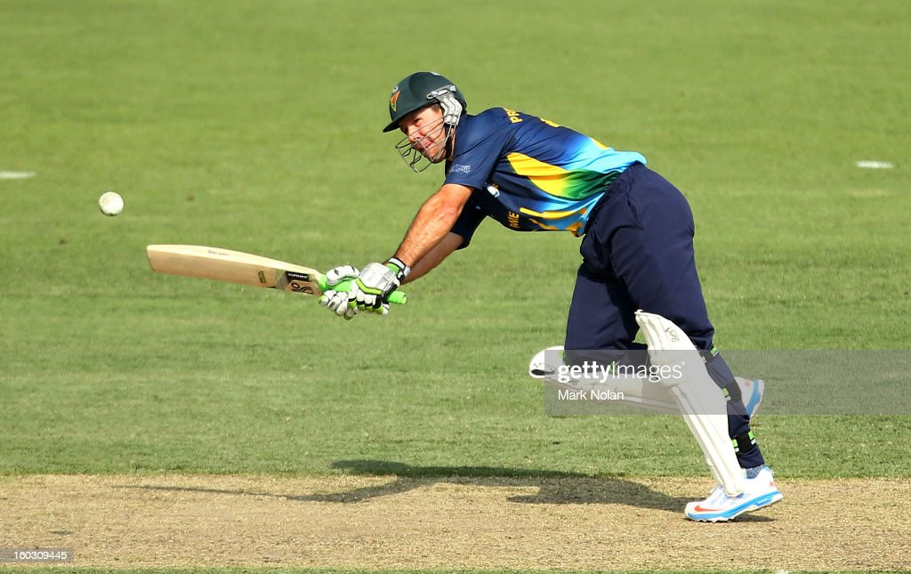 Ricky Ponting of the PM's XI bats during the International Tour Match between the Prime Minister's XI and West Indies at Manuka Oval on January 29, 2013 in Canberra, Australia.