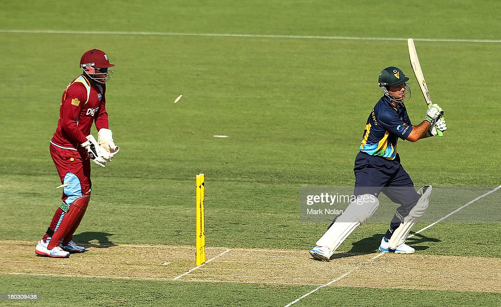 Ricky Ponting of the PM's XI is bowled during the International Tour Match between the Prime Minister's XI and West Indies at Manuka Oval on January 29, 2013 in Canberra, Australia.