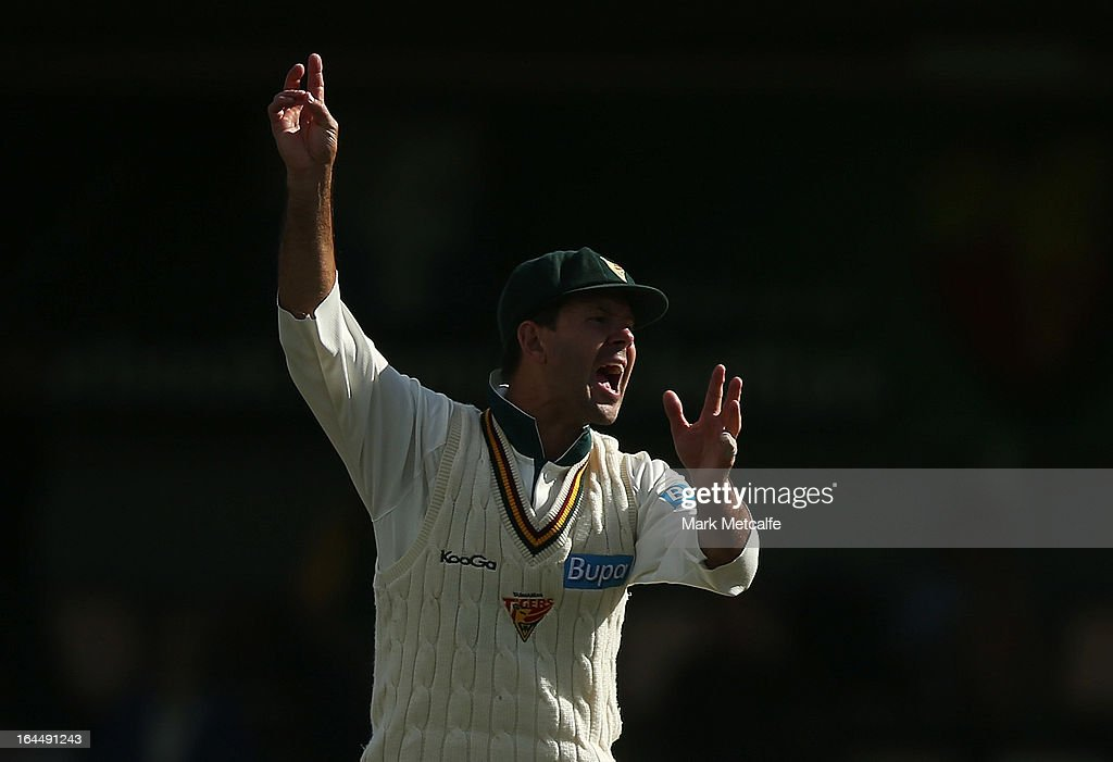 Ricky Ponting of the Tigers appeals during day three of the Sheffield Shield final between the Tasmania Tigers and the Queensland Bulls at Blundstone Arena on March 24, 2013 in Hobart, Australia.