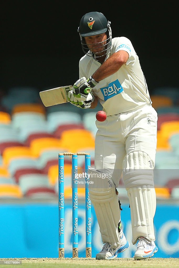 Ricky Ponting of the Tigers bats during day one of the Sheffield Shiled match between the Queenaland Bulls and the Tasmanian Tigers at The Gabba on March 7, 2013 in Brisbane, Australia.