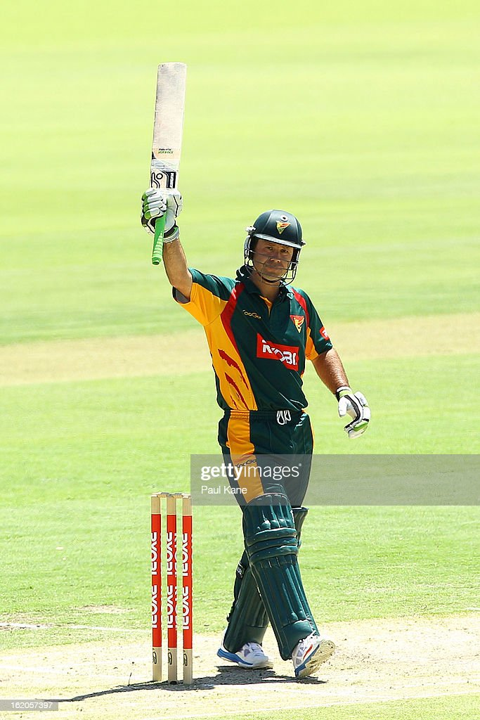 <a gi-track='captionPersonalityLinkClicked' href=/galleries/search?phrase=Ricky+Ponting&family=editorial&specificpeople=176564 ng-click='$event.stopPropagation()'>Ricky Ponting</a> of the Tigers celebrates his half century during the Ryobi One Day Cup match between the Western Australia Warriors and the Tasmanian Tigers at the WACA on February 19, 2013 in Perth, Australia.