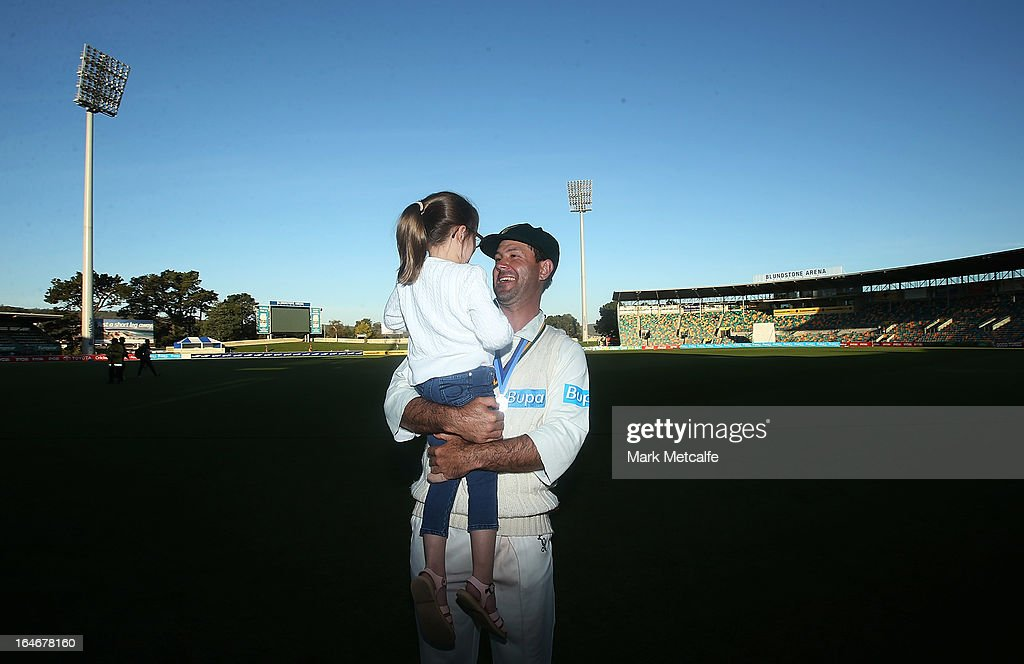 <a gi-track='captionPersonalityLinkClicked' href=/galleries/search?phrase=Ricky+Ponting&family=editorial&specificpeople=176564 ng-click='$event.stopPropagation()'>Ricky Ponting</a> of the Tigers holds his daughter Emmy after victory in the Sheffield Shield final between the Tasmania Tigers and the Queensland Bulls at Blundstone Arena on March 26, 2013 in Hobart, Australia.