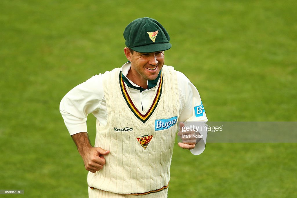Ricky Ponting of the Tigers leaves the field during day four of the Sheffield Shield match between the Tasmania Tigers and the Victoria Bushrangers at Blundstone Arena on March 17, 2013 in Hobart, Australia.