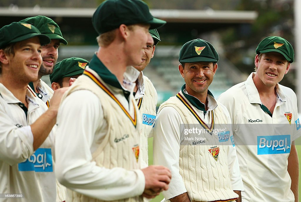 Ricky Ponting of the Tigers looks on after during day four of the Sheffield Shield match between the Tasmania Tigers and the Victoria Bushrangers at Blundstone Arena on March 17, 2013 in Hobart, Australia.
