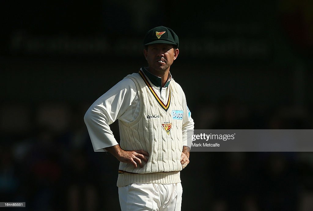 Ricky Ponting of the Tigers looks on during day three of the Sheffield Shield final between the Tasmania Tigers and the Queensland Bulls at Blundstone Arena on March 24, 2013 in Hobart, Australia.