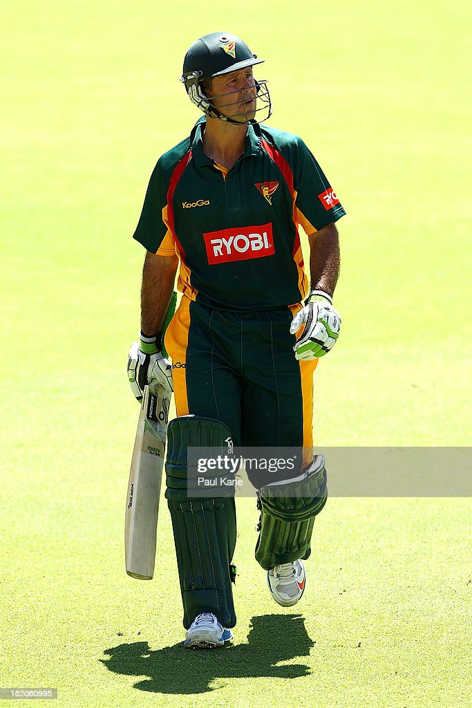Ricky Ponting of the Tigers walks back to the rooms after being run out during the Ryobi One Day Cup match between the Western Australia Warriors and the Tasmanian Tigers at the WACA on February 19, 2013 in Perth, Australia.