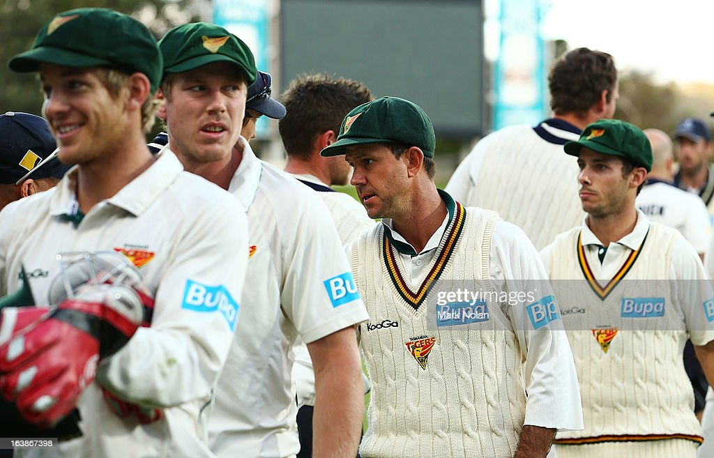Ricky Ponting of the Tigers walks from the field after day four of the Sheffield Shield match between the Tasmania Tigers and the Victoria Bushrangers at Blundstone Arena on March 17, 2013 in Hobart, Australia.