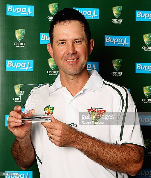 Ricky Ponting poses with the award for Sheffield Shield player of the year during the State Cricket Awards at Blundstone Arena on March 20 2013 in...