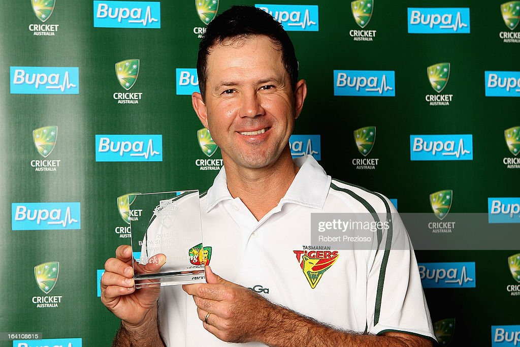 Ricky Ponting poses with the award for Sheffield Shield player of the year during the State Cricket Awards at Blundstone Arena on March 20, 2013 in Hobart, Australia.
