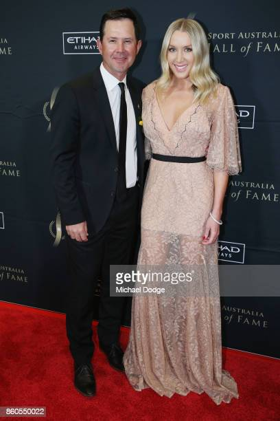 Ricky Ponting poses with wife Rianna Ponting at the Sport Australia Hall of Fame Annual Induction and Awards Gala Dinner at Crown Palladium on...