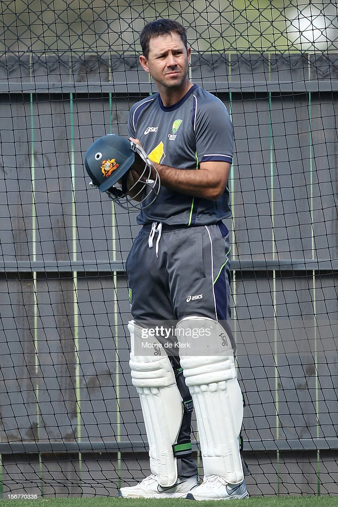 <a gi-track='captionPersonalityLinkClicked' href=/galleries/search?phrase=Ricky+Ponting&family=editorial&specificpeople=176564 ng-click='$event.stopPropagation()'>Ricky Ponting</a> prepares to bat during an Australian training session at Adelaide Oval on November 21, 2012 in Adelaide, Australia.