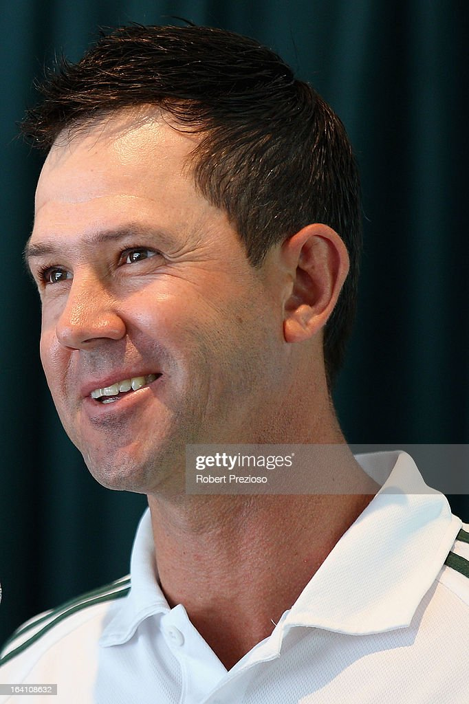 Ricky Ponting speaks after being named Sheffield Shield player of the year during the State Cricket Awards at Blundstone Arena on March 20, 2013 in Hobart, Australia.