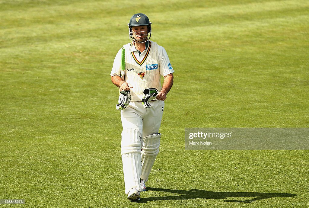 Ricky Ponting walks from the ground after being dismissed in Tasmanias second innings during day four of the Sheffield Shield match between the Tasmania Tigers and the Victoria Bushrangers at Blundstone Arena on March 17, 2013 in Hobart, Australia.