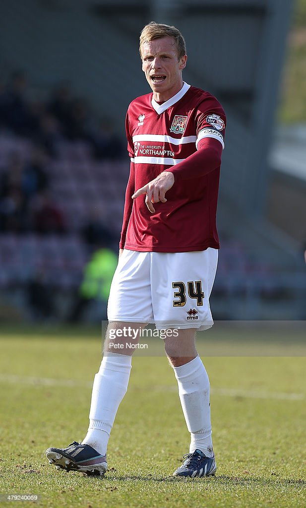 Ricky Ravenhill of Northampton Town in action during the Sky Bet League Two match between Northampton Town and Mansfield Town at Sixfields on March 15, 2014 in Northampton, England.