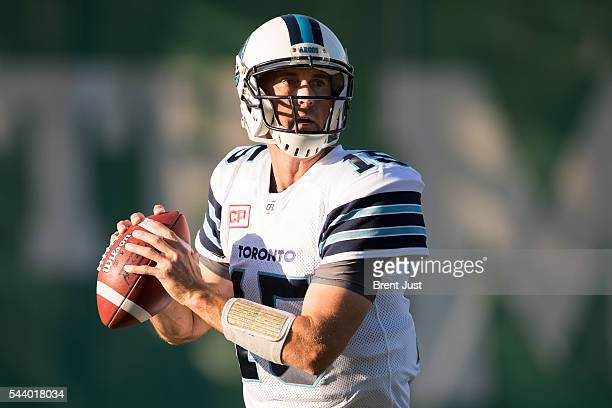 Ricky Ray of the Toronto Argonauts during pregame warmup for the game between the Toronto Argonauts and Saskatchewan Roughriders at Mosaic Stadium on...