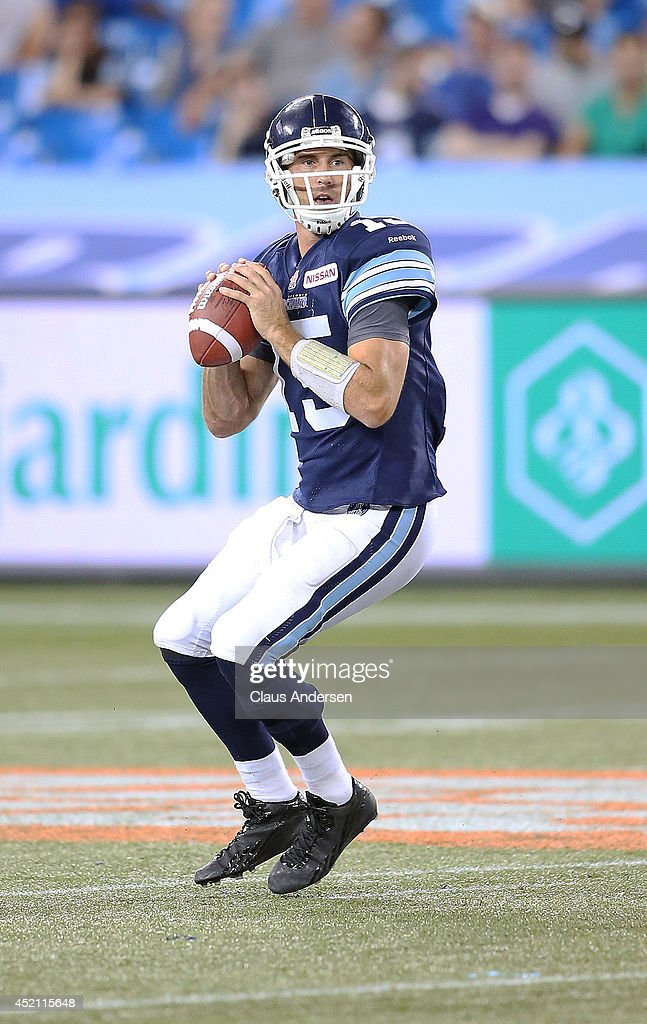 <a gi-track='captionPersonalityLinkClicked' href=/galleries/search?phrase=Ricky+Ray&family=editorial&specificpeople=4171123 ng-click='$event.stopPropagation()'>Ricky Ray</a> #15 of the Toronto Argonauts gets set to fire a pass against the Calgary Stampeders during a CFL game at the Rogers Centre on July 12, 2014 in Toronto, Ontario, Canada. The Stampeders defeated the Argonauts 34-15.