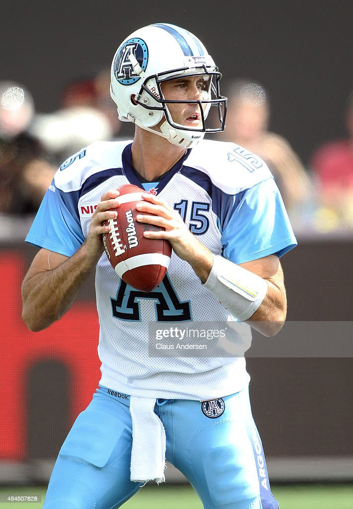 <a gi-track='captionPersonalityLinkClicked' href=/galleries/search?phrase=Ricky+Ray&family=editorial&specificpeople=4171123 ng-click='$event.stopPropagation()'>Ricky Ray</a> #15 of the Toronto Argonauts gets set to fire a pass against the Hamilton Tiger-cats in a CFL football game at Tim Hortons Field on September 1, 2014 in Hamilton, Ontario, Canada. The Tiger-cats defeated the Argonauts 13-12.