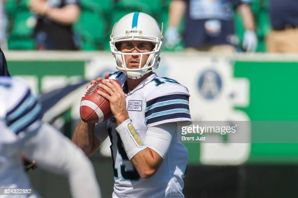 Ricky Ray of the Toronto Argonauts in pregame warmup for the game between the Toronto Argonauts and Saskatchewan Roughriders at Mosaic Stadium on...