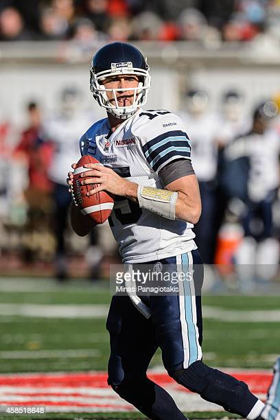 Ricky Ray of the Toronto Argonauts looks to play the ball during the CFL game against the Montreal Alouettes at Percival Molson Stadium on November 2...