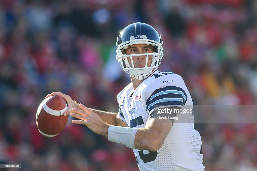 <a gi-track='captionPersonalityLinkClicked' href=/galleries/search?phrase=Ricky+Ray&family=editorial&specificpeople=4171123 ng-click='$event.stopPropagation()'>Ricky Ray</a> #15 of the Toronto Argonauts looks up field for a teammate to throw to during a CFL game against the Calgary Stampeders at McMahon Stadium on September 13, 2014 in Calgary, Alberta, Canada.