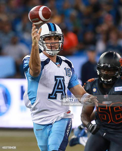 Ricky Ray of the Toronto Argonauts makes a pass against the BC Lions during their game at Rogers Centre on August 17 2014 in Toronto Canada