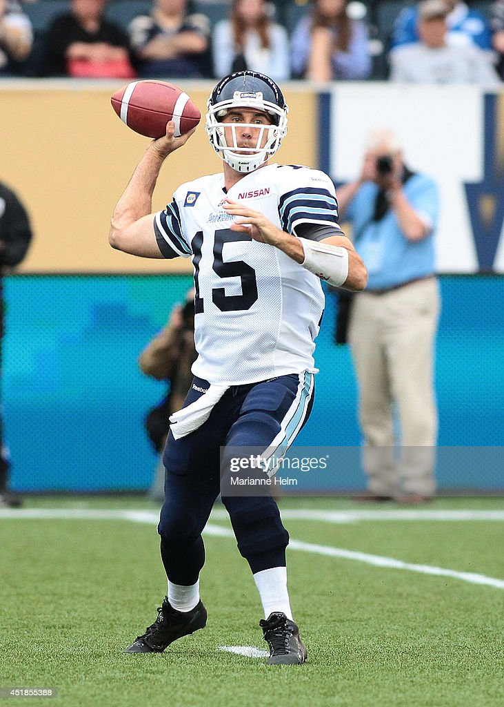 <a gi-track='captionPersonalityLinkClicked' href=/galleries/search?phrase=Ricky+Ray&family=editorial&specificpeople=4171123 ng-click='$event.stopPropagation()'>Ricky Ray</a> #15 of the Toronto Argonauts prepares to throw the ball in a CFL game against the Winnipeg Blue Bombers at Investors Group Field on June 26, 2014 in Winnipeg, Manitoba, Canada.